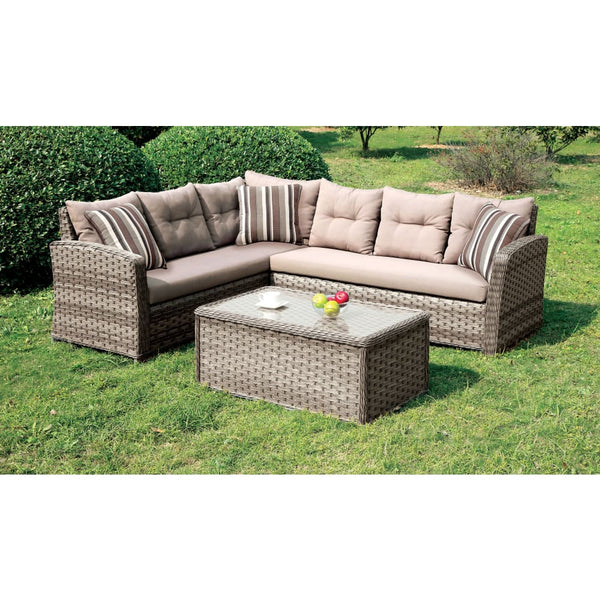 Nola Contemporary Style L-Shaped Outdoor Patio Sectional - Outdoor Patio Furniture