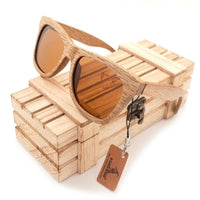Oval New Polarized Mirror Eyewear Wooden Sunglasses - brown / Natural Wood - Sunglasses