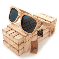 Oval New Polarized Mirror Eyewear Wooden Sunglasses - gray / Natural Wood - Sunglasses