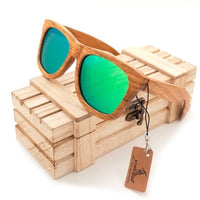 Oval New Polarized Mirror Eyewear Wooden Sunglasses - green / Natural Wood - Sunglasses