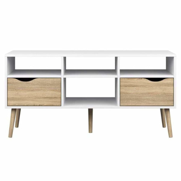 Palm Canyon Nicola White 4-shelf 2-drawer TV Stand - TV Stands & Entertainment Centers