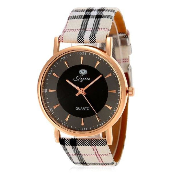 Plaid Leather Strap Golden Case Women Quartz Watch with - BLACK - Watches