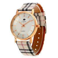 Plaid Leather Strap Golden Case Women Quartz Watch with - WHITE - Watches