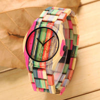 Rainbow Bamboo Casual Quartz Wristwatch - Watches