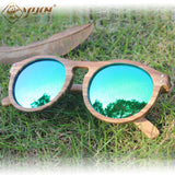 Retro Round Frame Handmade Driving Wooden Sunglasses - Sunglasses