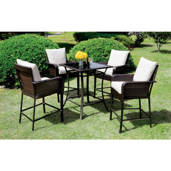 Rolly Contemporary Style Outdoor Patio 5PC Bar Table Set - Outdoor Patio Furniture