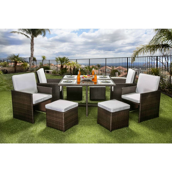 Ronny Contemporary Style Outdoor Patio 9PC Dining Set - Outdoor Patio Furniture