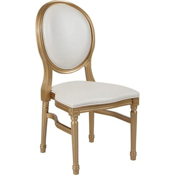 Round Back Chair-Silver Frame - White Vinyl/Gold Frame - Accent Chairs - Upholstered