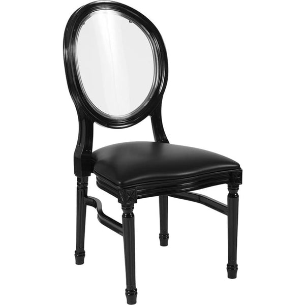 Round Back Chair - White Frame - Black - Accent Chairs - Upholstered
