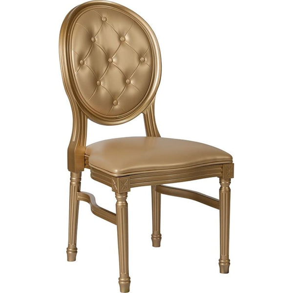 Round Back Chair - White Frame - Gold - Accent Chairs - Upholstered