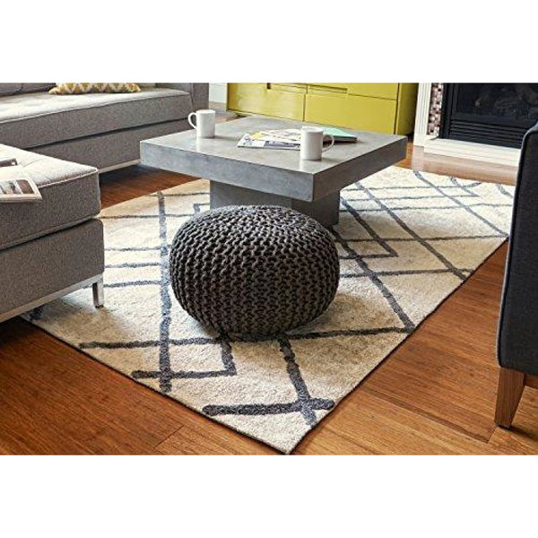 Round Jute Pouf Gray/Natural Brown 16-Inch Diameter - Poufs