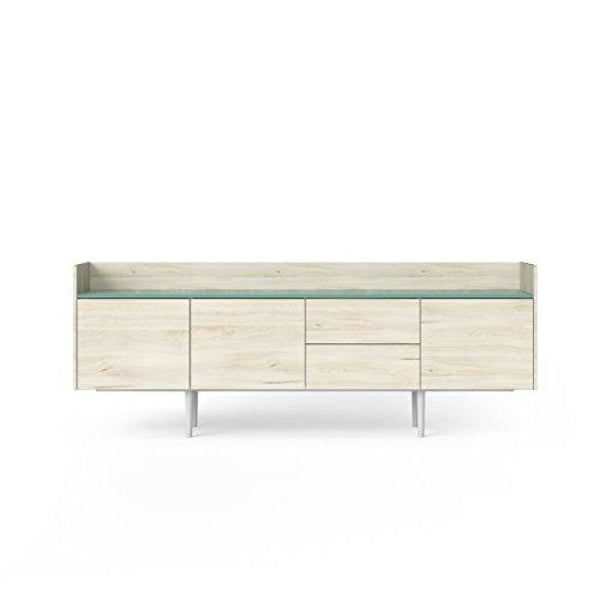 Sideboard with 3 Doors and 2 Drawers Matterhorn Oak/Black Matte - Jasmund Ocean Green - Buffets Sideboards & China Cabinets