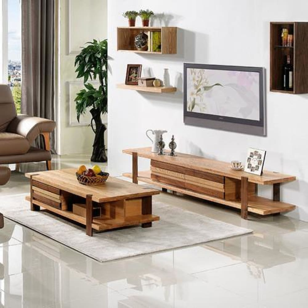 Solid Wood Living Room Furniture Coffee Table + TV Stand