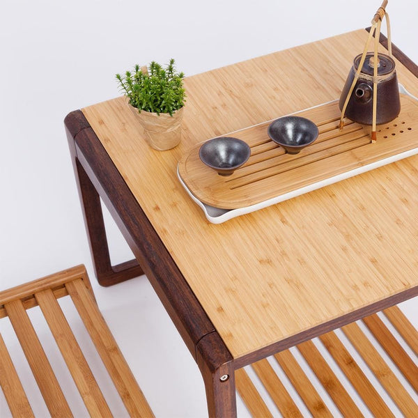 Square Modern Chinese Style Bamboo Coffee Table - Bamboo Tables & Trays