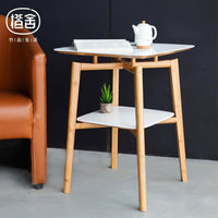 Square Tea Double Layer Bamboo Side Table - Bamboo Tables & Trays