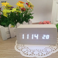 Thermometer Desk LED Mini LED Table Clock Multi-style Wooden Digital Clock - Alarm Clocks
