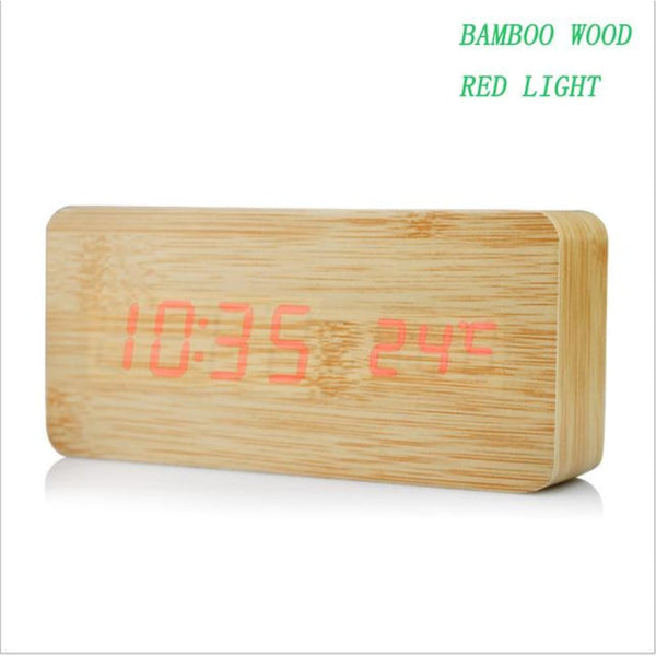 Thermometer Desk LED Mini LED Table Clock Multi-style Wooden Digital Clock - bamboo wood red - Alarm Clocks
