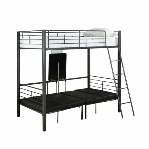 Twin Size / Charcoal Grey Metal 70 Inch Tall Metal Twin Bunk Bed - Beds