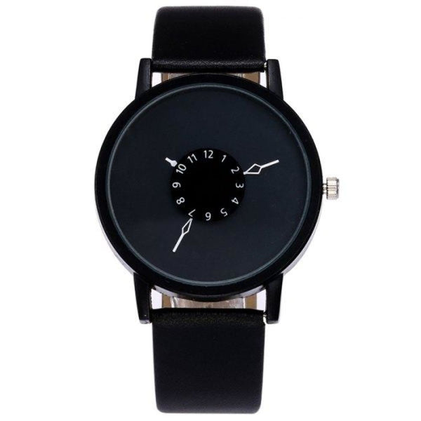 Unisex Alloy Black Faux Quartz Leather Strap Number Analog Watch - Watches