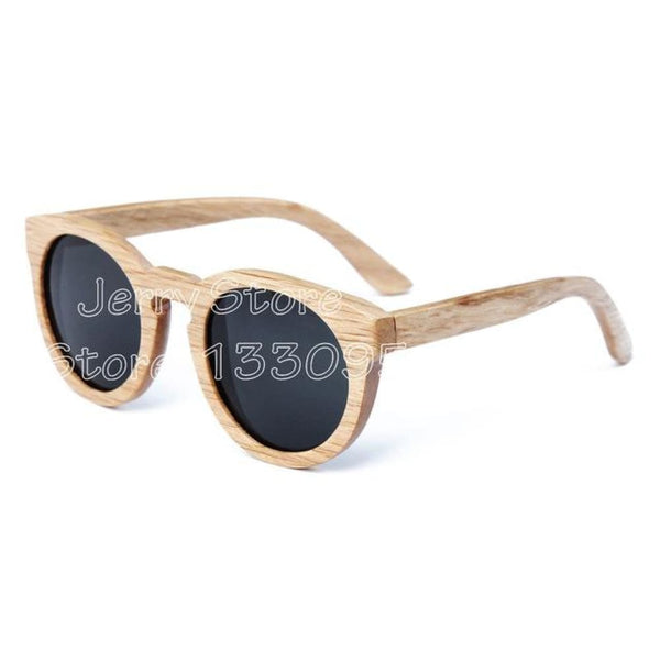 Unisex Bamboo Round Frame Wooden Sunglasses - black lens / Natural Wood - Sunglasses