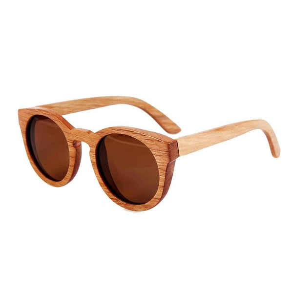 Unisex Bamboo Round Frame Wooden Sunglasses - Sunglasses