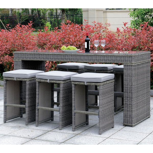 Vinson Contemporary Style Outdoor Patio Bar Table - Outdoor Patio Furniture
