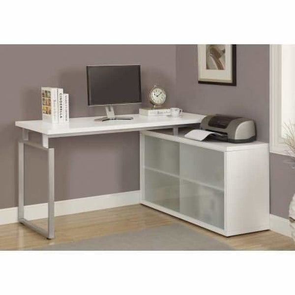White Corner Frosted Glass 60 Inch Wide Particle Board Corner Computer Desk  with