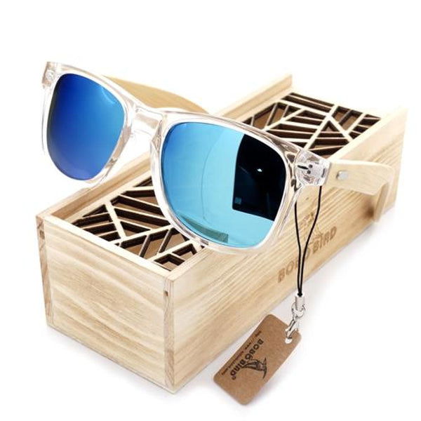 Womens Transparent Clear Color Wood Sunglasses With Wood Box UV 400 Protection - Blue / Natural Wood - Sunglasses
