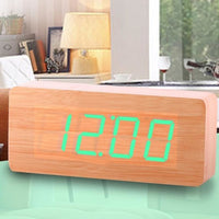 Wooden Alarm Clock LED Digital - Green Light - Alarm Clocks