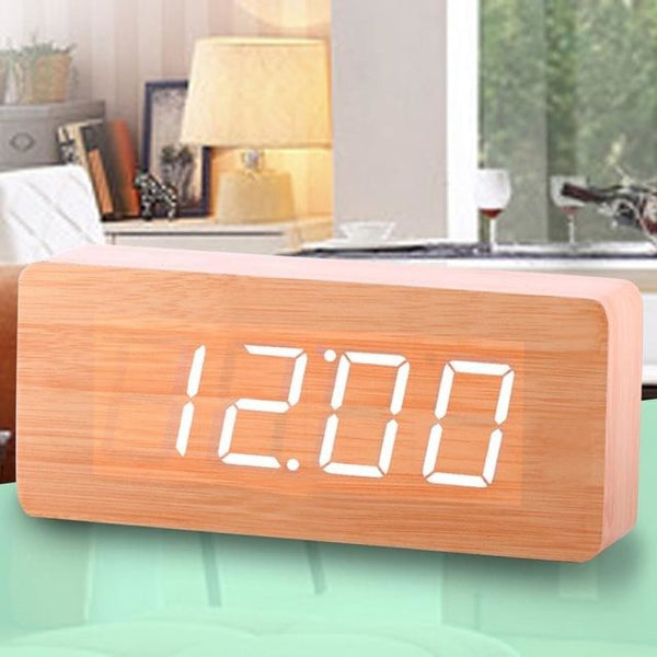 Wooden Alarm Clock LED Digital - White Light - Alarm Clocks