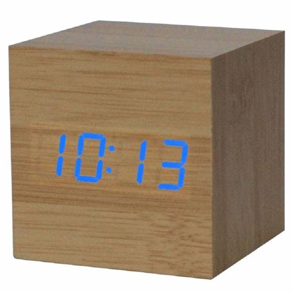 Wooden Cube Digital Clock with USB port works with AAA Batteries - A1 - Alarm Clocks