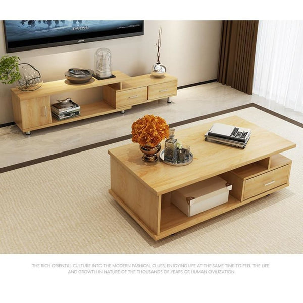 Wooden Panel Coffee Tables+TV Stands Furniture Minimalist Set - Bamboo Tables & Trays