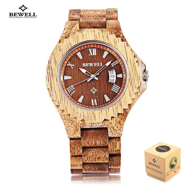 Wooden Quartz Luminous Waterproof Calendar Fashion Wristwatch - Watches