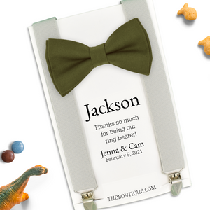 olive bow tie ring bearer gift