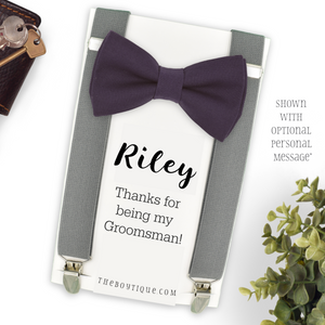 amethyst bow tie and grey suspenders