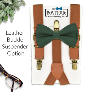 forest green bow tie and leather suspenders
