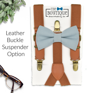 mist bow tie and leather suspenders
