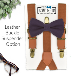 amethyst bow tie and leather suspenders