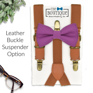 cassis bow tie and leather suspenders