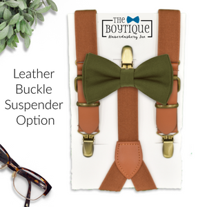 olive bow tie and leather suspenders