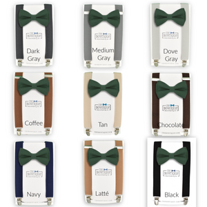forest green bow tie and suspenders