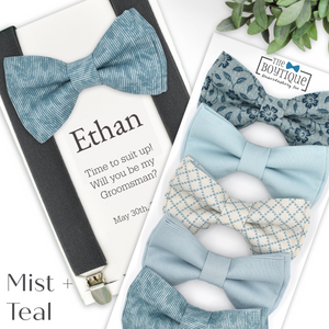 mist and teal bow tie collection