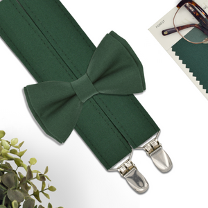 forest bow tie and suspenders set