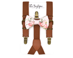 blush bow tie and leather suspenders