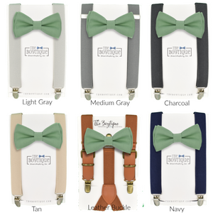 sage green bow tie and suspenders