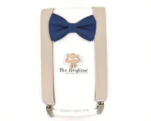 Yale Blue bow tie and suspenders