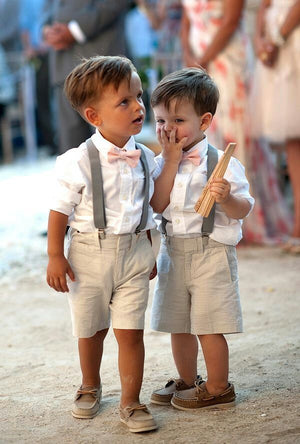 Blush Bow Tie and Suspenders