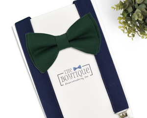 dark green bow tie and suspenders