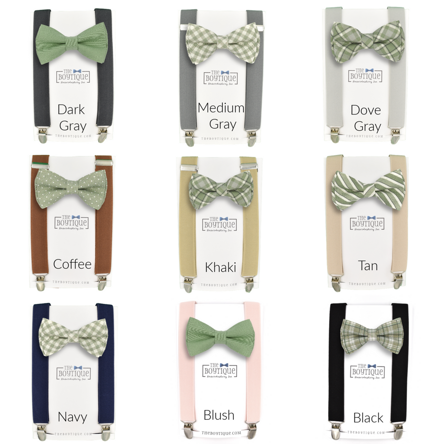 sage green plaid bow tie
