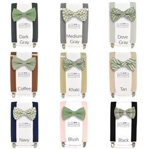 sage green bow ties and suspenders